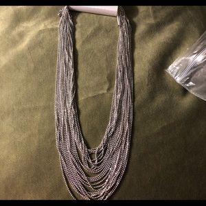 Multi strand necklace new silver tone